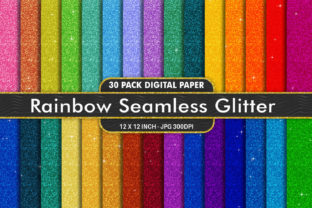 Print on Demand: Digital Paper Rainbow Glitter Texture Graphic Backgrounds By Artnoy