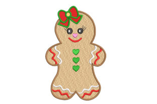 Gingerbread Girl Christmas Cookie Christmas Embroidery Design By Canada Crafts Studio