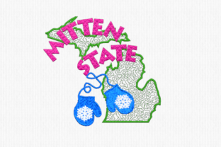 Michigan Mitten State North America Embroidery Design By Scrappy Remnants