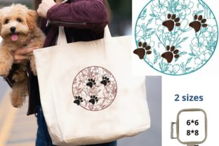 Paw Print Floral Circle Dogs Embroidery Design By LaceArtDesigns