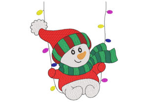 Snowman on Swings Christmas Embroidery Design By Canada Crafts Studio
