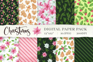 Watercolor Christmas Digital Paper Pack Graphic Patterns By SipkaDesigns