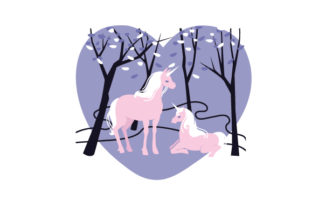 Unicorns in the Forest Designs & Drawings Craft Cut File By Creative Fabrica Crafts