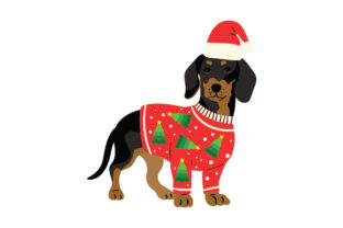 Dachshund Wearing a Christmas Jumper and Santa Hat Dogs Craft Cut File By Creative Fabrica Crafts