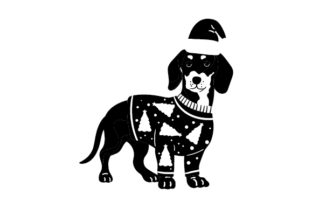 Dachshund Wearing a Christmas Jumper and Santa Hat Dogs Craft Cut File By Creative Fabrica Crafts 2