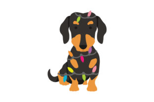 Dachshund Wrapped in Christmas Lights Dogs Craft Cut File By Creative Fabrica Crafts