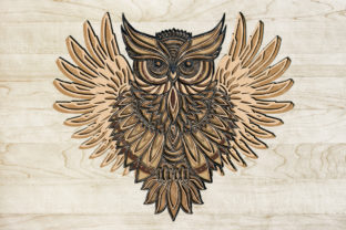 Owl 3D Layered Template Graphic 3D SVG By LilMeStores