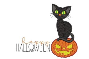 Print on Demand: Pumpkin and Cat Halloween Embroidery Design By ArtEMByNatali 1