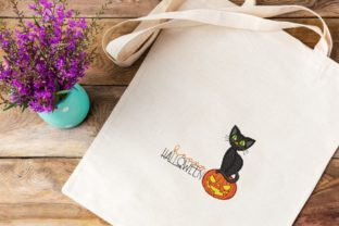 Print on Demand: Pumpkin and Cat Halloween Embroidery Design By ArtEMByNatali 3