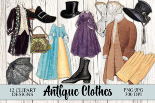 Print on Demand: Vintage Antique Clothes Clipart Graphic Objects By Digital Attic Studio