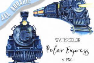 Watercolor Polar Express Clipart. Graphic Illustrations By KaleArtCreative