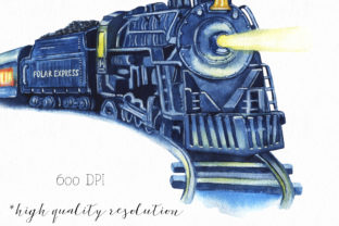 Watercolor Polar Express Clipart. Graphic Illustrations By KaleArtCreative 2