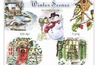 Watercolor Winter Scene Clipart. Graphic Illustrations By KaleArtCreative