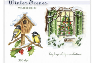 Watercolor Winter Scene Clipart. Graphic Illustrations By KaleArtCreative 2