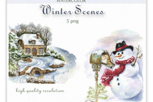 Watercolor Winter Scene Clipart. Graphic Illustrations By KaleArtCreative 3