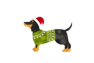 Watercolor Dachshund Wearing a Christmas Jumper Dogs Craft Cut File By Creative Fabrica Crafts