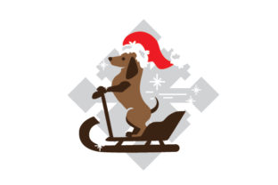 Dachshund Riding on a Sleigh Dogs Craft Cut File By Creative Fabrica Crafts