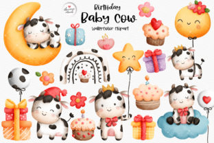 Print on Demand: Baby Cow Birthday Clipart, Farm Birthday Graphic Illustrations By Chonnieartwork