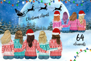 Print on Demand: Christmas Girls Clipart Christmas Bundle Graphic Illustrations By LeCoqDesign 1