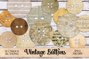 Print on Demand: Digtial Vintage Buttons Ephemera Graphic Objects By Digital Attic Studio