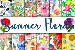 Print on Demand: Summer Floral Digital Papers Graphic Backgrounds By oldmarketdesigns