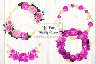 Print on Demand: Hot Pink Wreath Clipart Graphic Illustrations By Digital Curio