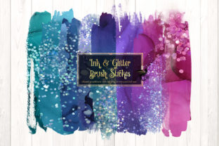 Print on Demand: Ink and Glitter Brush Strokes Clipart Graphic Illustrations By Digital Curio 1