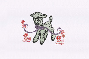 Mary's Little Lamb Baby Animals Embroidery Design By StitchersCorp