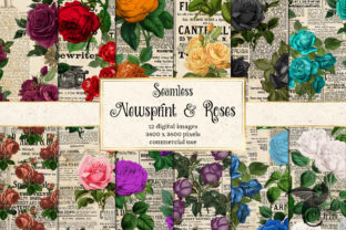 Print on Demand: Newsprint and Roses Digital Paper Graphic Textures By Digital Curio 1