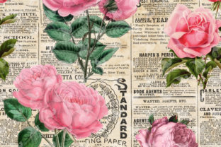 Print on Demand: Newsprint and Roses Digital Paper Graphic Textures By Digital Curio 2
