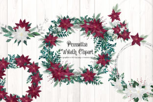 Print on Demand: Poinsettia Wreath Clipart Graphic Illustrations By Digital Curio