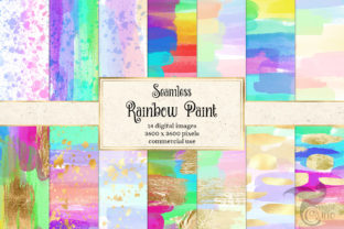 Print on Demand: Rainbow Paint Digital Paper Graphic Textures By Digital Curio