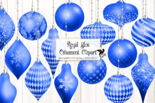 Print on Demand: Royal Blue Christmas Ornaments Clipart Graphic Illustrations By Digital Curio