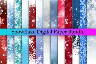 Print on Demand: Snowflake Background Bundle, Snowflake Graphic Backgrounds By CFSHOP