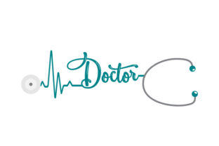 Stethoscope with Doctor Text Medical Craft Cut File By Creative Fabrica Crafts 1