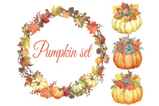 Autumn Watercolor Set, Autumn Wreath Graphic Add-ons By EvArtPrint
