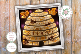 Bee Happy 3d Shadow Box Template Graphic 3D Shadow Box By NikkysCraftingRoom