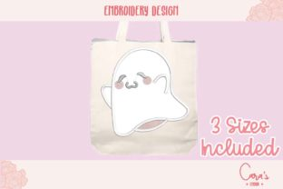 Happy Ghost Applique Halloween Embroidery Design By carasembor