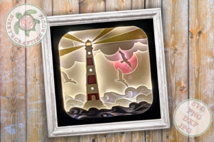 Lighthouse 3d Shadow Box Template Graphic 3D Shadow Box By NikkysCraftingRoom