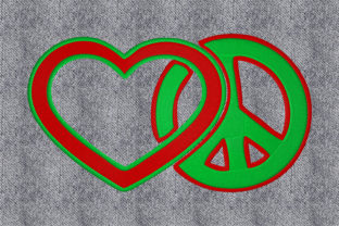 Print on Demand: Love and Peace Mode & Beauty Stickdesign von embroidery dp