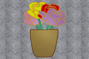 Print on Demand: Pot with Flowers Bouquets & Bunches Embroidery Design By embroidery dp