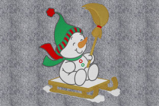 Print on Demand: Snowman on the Luge Winter Embroidery Design By embroidery dp