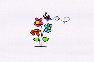 Tiny Butterfly Flowers Bouquets & Bunches Embroidery Design By StitchersCorp