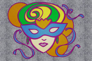 Print on Demand: Woman with Carnival Mask Holidays & Celebrations Embroidery Design By embroidery dp
