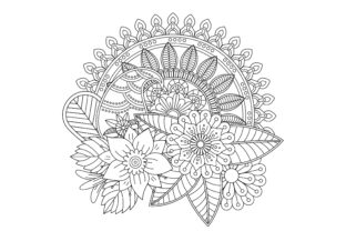 Adult Coloring Page with Floral Style Graphic Coloring Pages & Books Adults By ekradesign