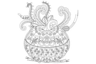 Alloween Coloring Pages Vector Draw Graphic Coloring Pages & Books Adults By ekradesign