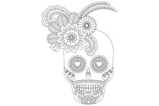 Coloring for Adult for Day of the Dead Graphic Coloring Pages & Books Adults By ekradesign