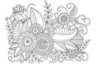 Floral Coloring Page for Doodle Style Graphic Coloring Pages & Books Adults By ekradesign