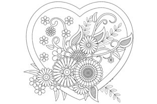 Flower Pattern and Hena Drawing Graphic Coloring Pages & Books Adults By ekradesign