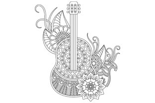 Guitar Coloring Page for Adult Graphic Coloring Pages & Books Adults By ekradesign